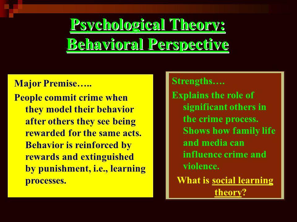 Psychological Theory: Behavioral Perspective Major Premise…..