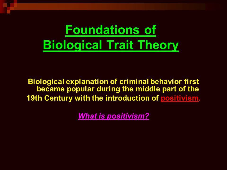 Foundations of Biological Trait Theory Biological explanation of criminal behavior first became popular during the middle part of the 19th Century with the introduction of positivism.
