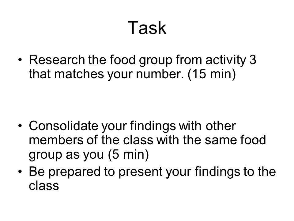 Task Research the food group from activity 3 that matches your number. (15 min) Consolidate your findings with other members of the class with the sam