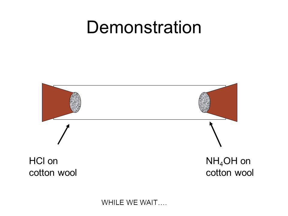 Demonstration HCl on cotton wool NH 4 OH on cotton wool WHILE WE WAIT….