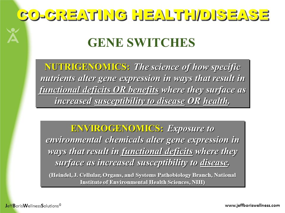 J eff B oris W ellness S olutions © www.jeffboriswellness.com CO-CREATING HEALTH/DISEASE ENVIROGENOMICS: Exposure to environmental chemicals alter gene expression in ways that result in functional deficits where they surface as increased susceptibility to disease.