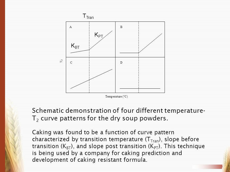 AB CD Temperature (°C) T2T2 Schematic demonstration of four different temperature- T 2 curve patterns for the dry soup powders. Caking was found to be
