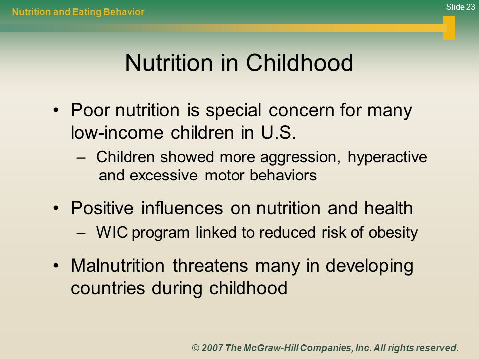 Slide 23 © 2007 The McGraw-Hill Companies, Inc. All rights reserved. Nutrition in Childhood Poor nutrition is special concern for many low-income chil