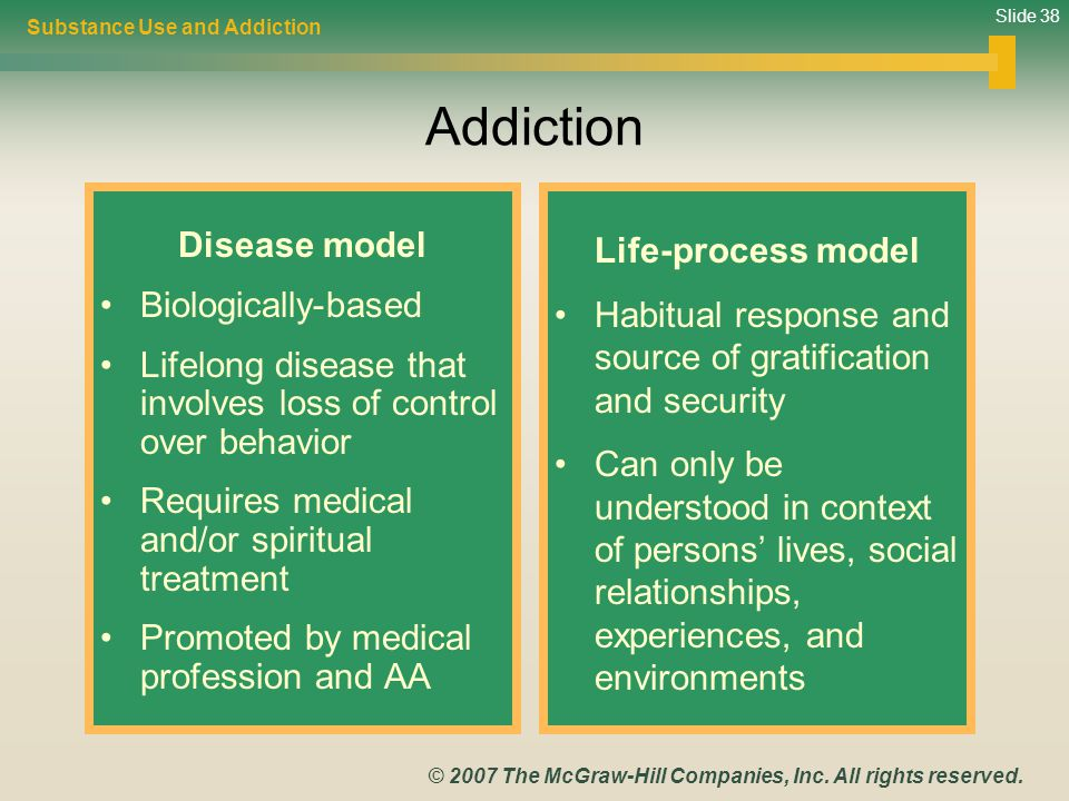 Slide 38 © 2007 The McGraw-Hill Companies, Inc. All rights reserved. Addiction Disease model Biologically-based Lifelong disease that involves loss of