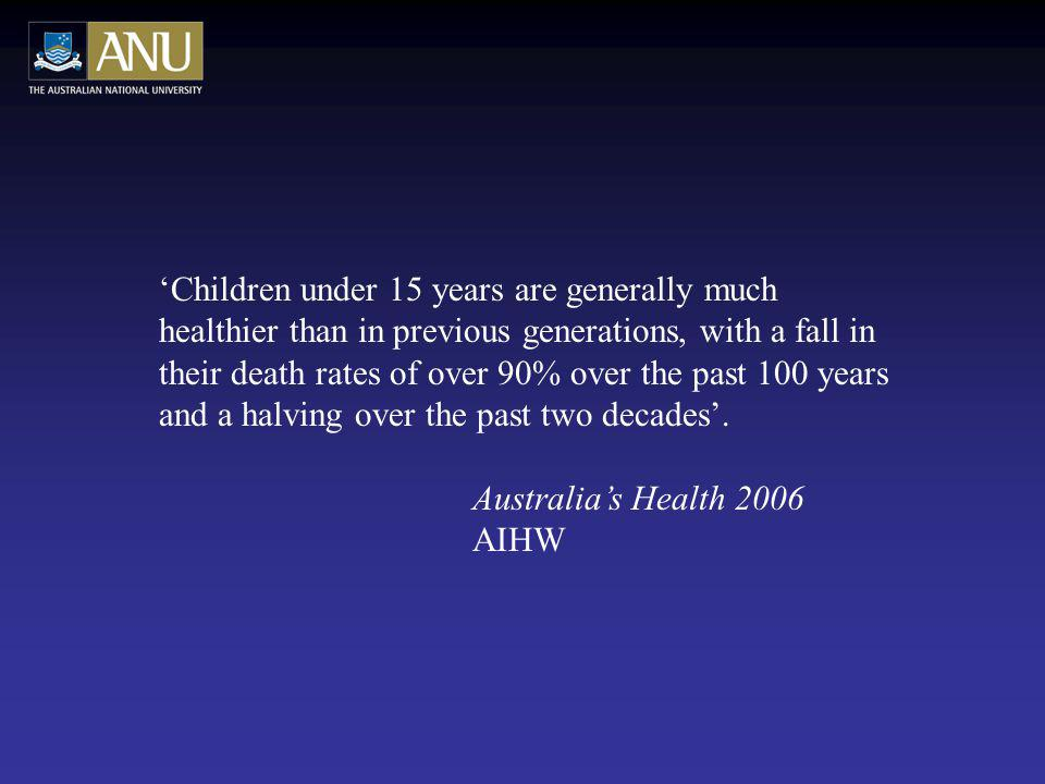 Children under 15 years are generally much healthier than in previous generations, with a fall in their death rates of over 90% over the past 100 years and a halving over the past two decades.