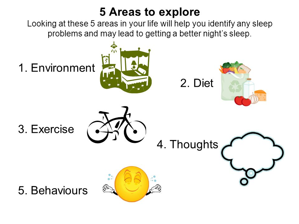 5 Areas to explore Looking at these 5 areas in your life will help you identify any sleep problems and may lead to getting a better nights sleep. 1. E