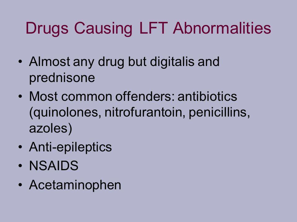 Drugs Causing LFT Abnormalities Almost any drug but digitalis and prednisone Most common offenders: antibiotics (quinolones, nitrofurantoin, penicilli