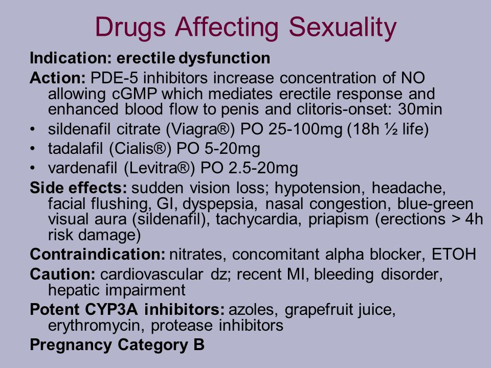 Drugs Affecting Sexuality Indication: erectile dysfunction Action: PDE-5 inhibitors increase concentration of NO allowing cGMP which mediates erectile