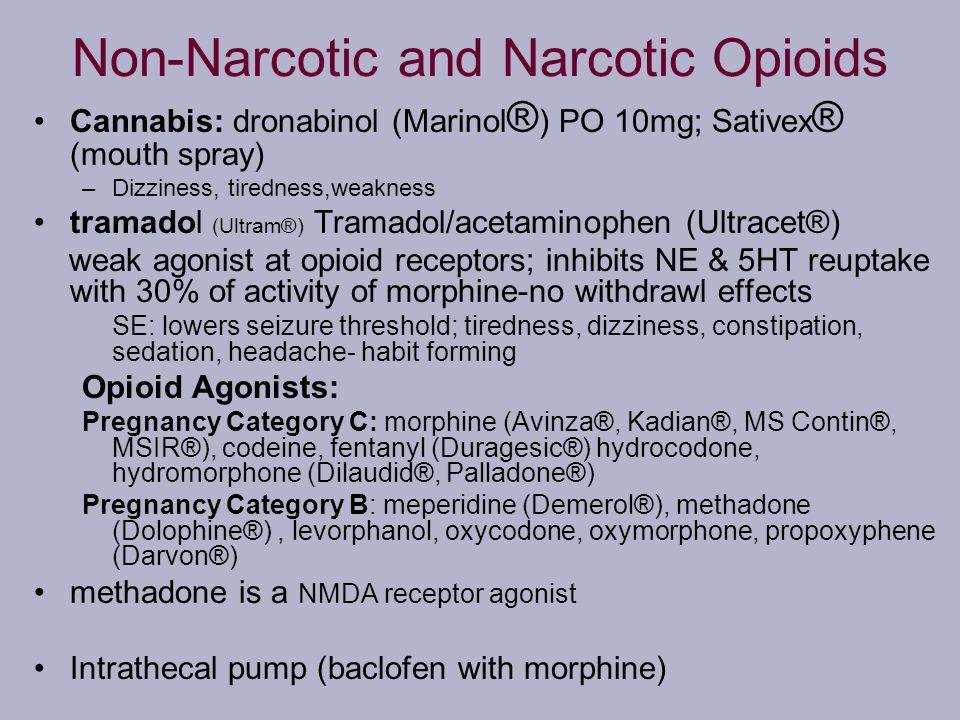 Non-Narcotic and Narcotic Opioids Cannabis: dronabinol (Marinol ® ) PO 10mg; Sativex ® (mouth spray) –Dizziness, tiredness,weakness tramadol (Ultram®)