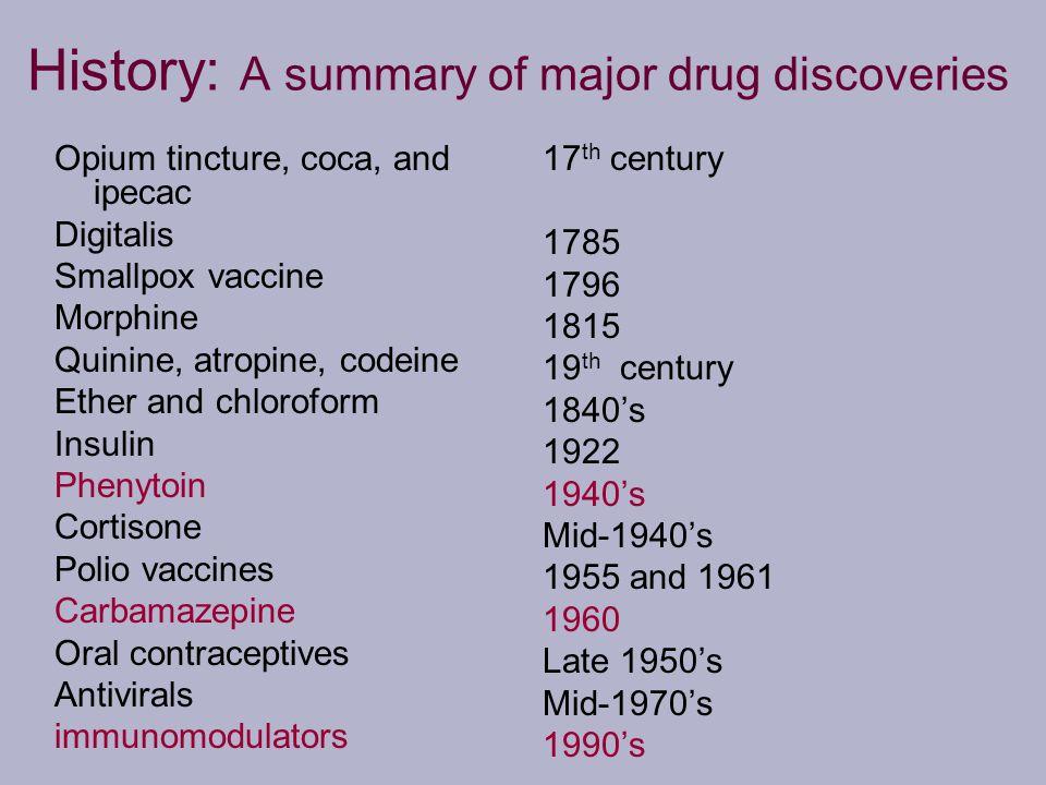 History: A summary of major drug discoveries Opium tincture, coca, and ipecac Digitalis Smallpox vaccine Morphine Quinine, atropine, codeine Ether and