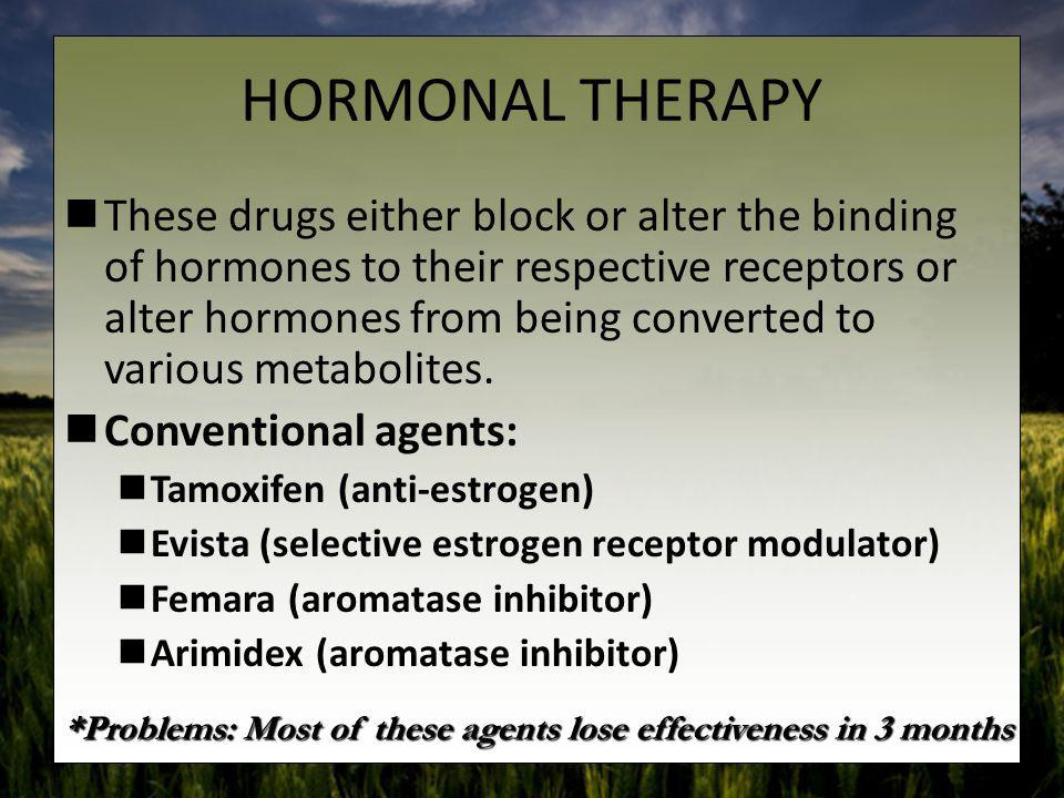 HORMONAL THERAPY These drugs either block or alter the binding of hormones to their respective receptors or alter hormones from being converted to var