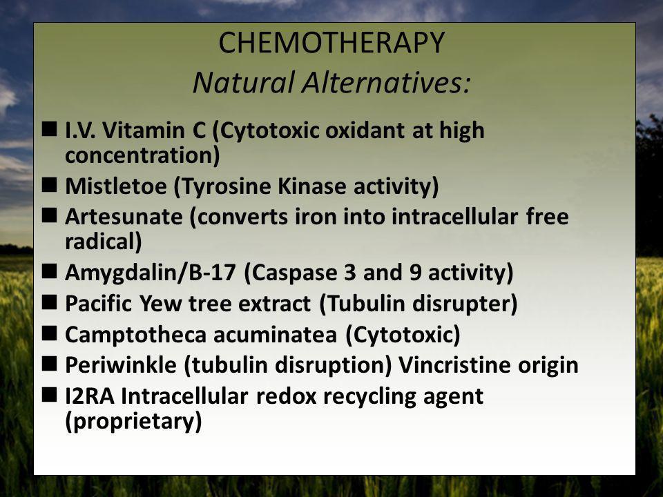 CHEMOTHERAPY Natural Alternatives: I.V. Vitamin C (Cytotoxic oxidant at high concentration) Mistletoe (Tyrosine Kinase activity) Artesunate (converts