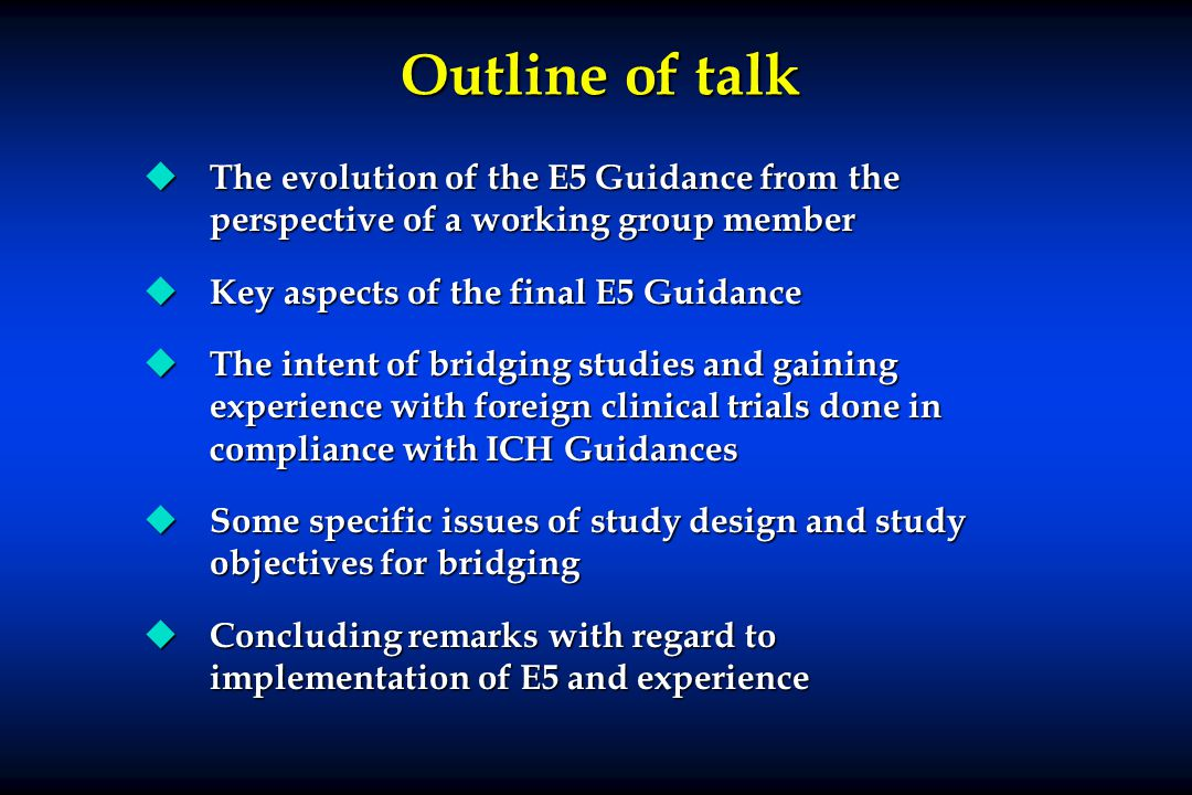 Outline of talk u The evolution of the E5 Guidance from the perspective of a working group member u Key aspects of the final E5 Guidance u The intent