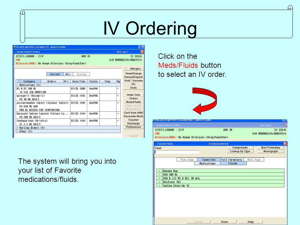 To see all Fluids in Pharmacy, begin typing the IV fluid or click on Full Formulary.