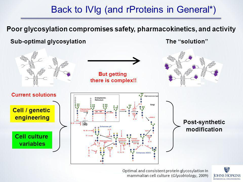 Back to IVIg (and rProteins in General*) Sub-optimal glycosylationThe solution Poor glycosylation compromises safety, pharmacokinetics, and activity But getting there is complex!.