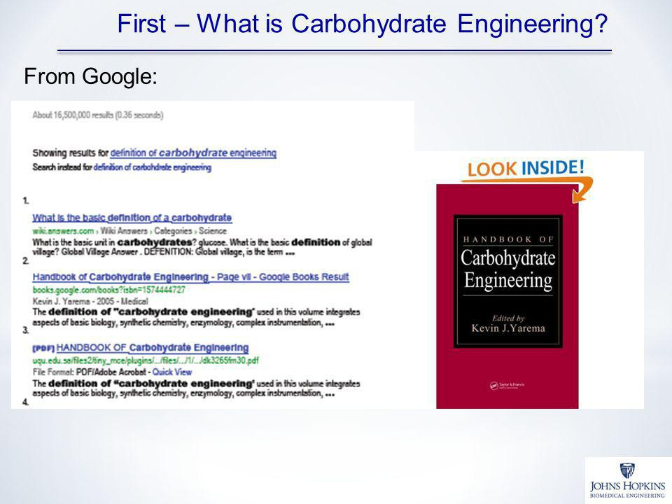 From Google: First – What is Carbohydrate Engineering?