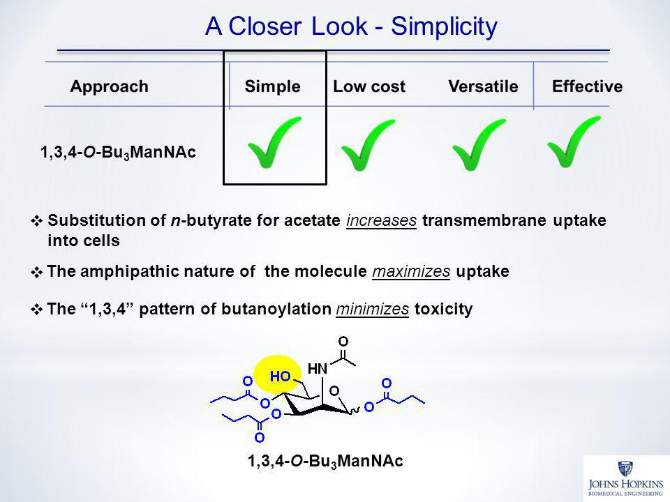 A Closer Look - Simplicity 1,3,4-O-Bu 3 ManNAc Substitution of n-butyrate for acetate increases transmembrane uptake into cells The amphipathic nature of the molecule maximizes uptake The 1,3,4 pattern of butanoylation minimizes toxicity