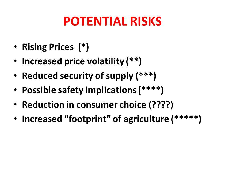 POTENTIAL RISKS Rising Prices (*) Rising Prices (*) Increased price volatility (**) Increased price volatility (**) Reduced security of supply (***) Reduced security of supply (***) Possible safety implications (****) Possible safety implications (****) Reduction in consumer choice (????) Reduction in consumer choice (????) Increased footprint of agriculture (*****) Increased footprint of agriculture (*****)