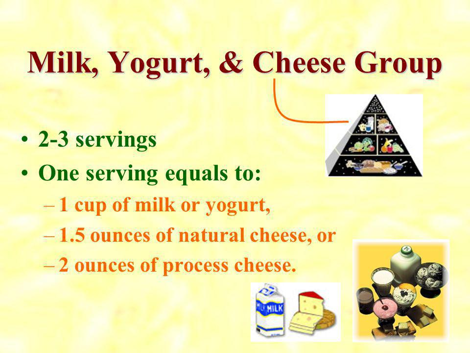 Fat, Oils & Sweets No specific serving size is given for the fats, oils, and sweets group because the message is EAT AS LITTLE AS POSSIBLE. So, rememb