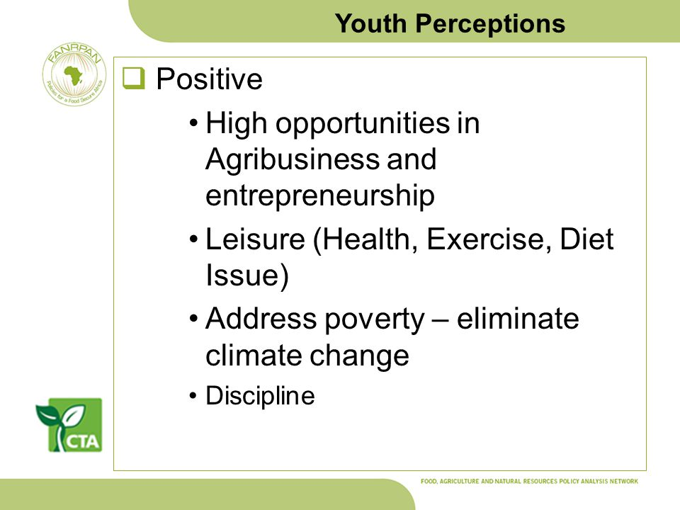 Youth Perceptions Positive High opportunities in Agribusiness and entrepreneurship Leisure (Health, Exercise, Diet Issue) Address poverty – eliminate climate change Discipline