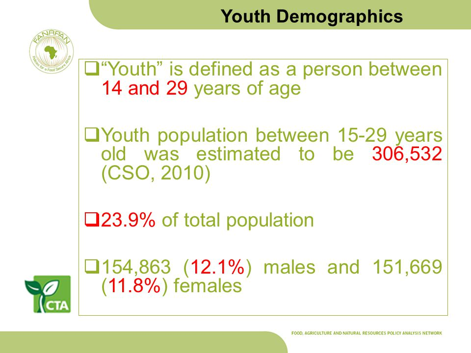 Youth Demographics Youth is defined as a person between 14 and 29 years of age Youth population between 15-29 years old was estimated to be 306,532 (C