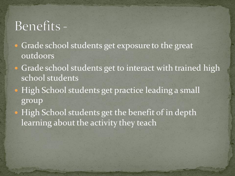 Grade school students get exposure to the great outdoors Grade school students get to interact with trained high school students High School students