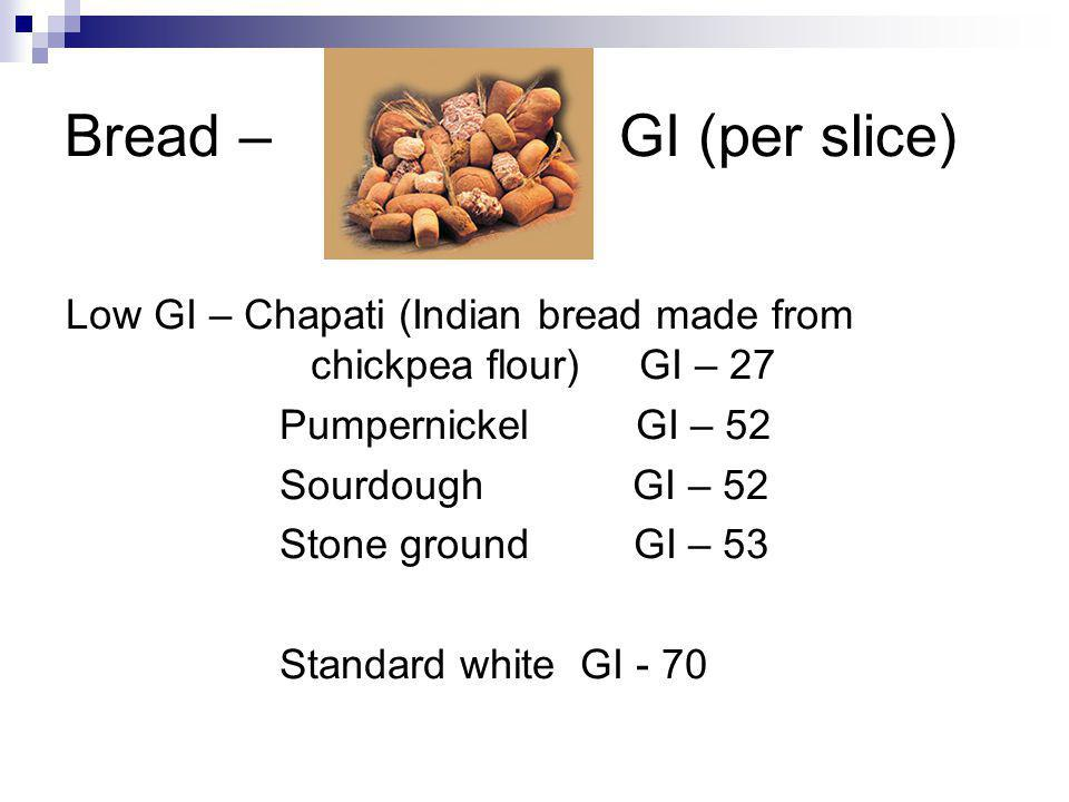 Bread – GI (per slice) Low GI – Chapati (Indian bread made from chickpea flour) GI – 27 Pumpernickel GI – 52 Sourdough GI – 52 Stone ground GI – 53 Standard white GI - 70