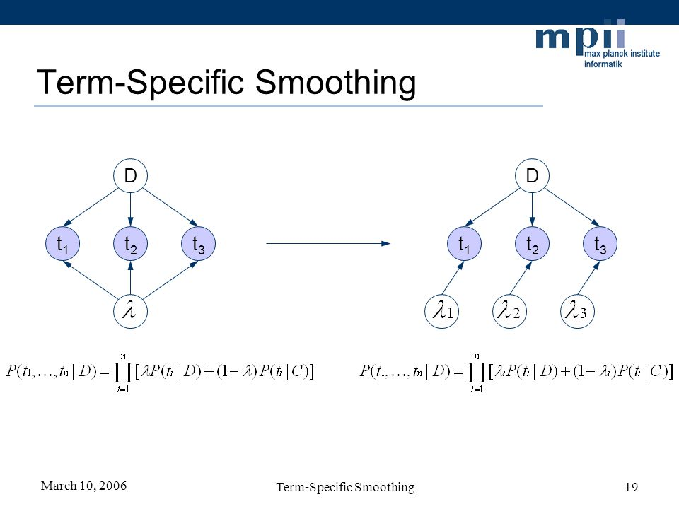 March 10, 2006 Term-Specific Smoothing19 Term-Specific Smoothing D t3t3 t2t2 t1t1 t3t3 t1t1 t2t2 D