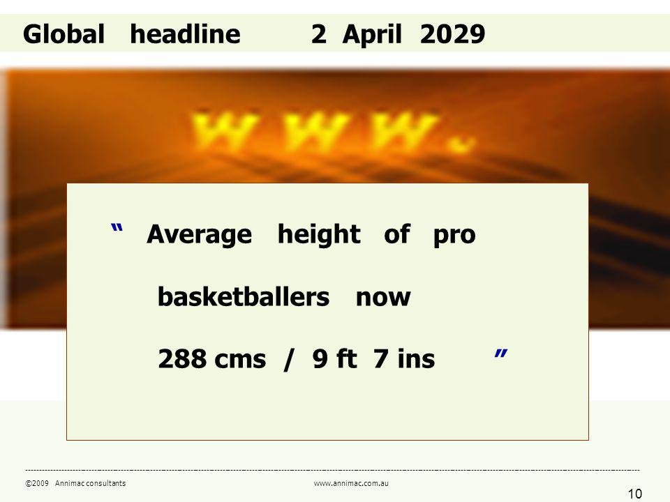 10 ------------------------------------------------------------------------------------------------------------------------------------------------------------------------------------------------------------------------------------- ©2009 Annimac consultants www.annimac.com.au Global headline 2 April 2029 Average height of pro basketballers now 288 cms / 9 ft 7 ins