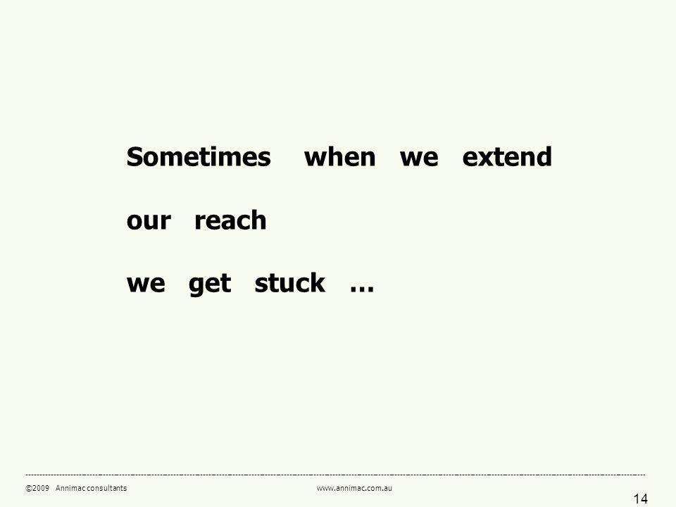 ©2009 Annimac consultants   Sometimes when we extend our reach we get stuck …