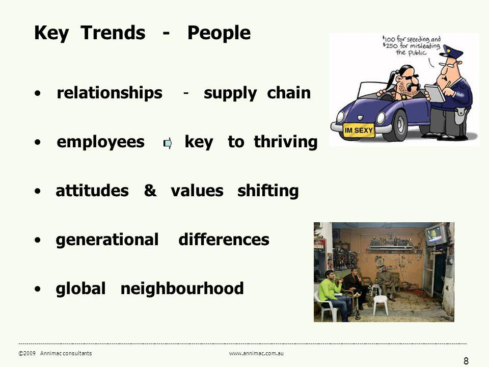 8 ------------------------------------------------------------------------------------------------------------------------------------------------------------------------------------------------------------------------------------- ©2009 Annimac consultants www.annimac.com.au Key Trends - People relationships - supply chain employees key to thriving attitudes & values shifting generational differences global neighbourhood
