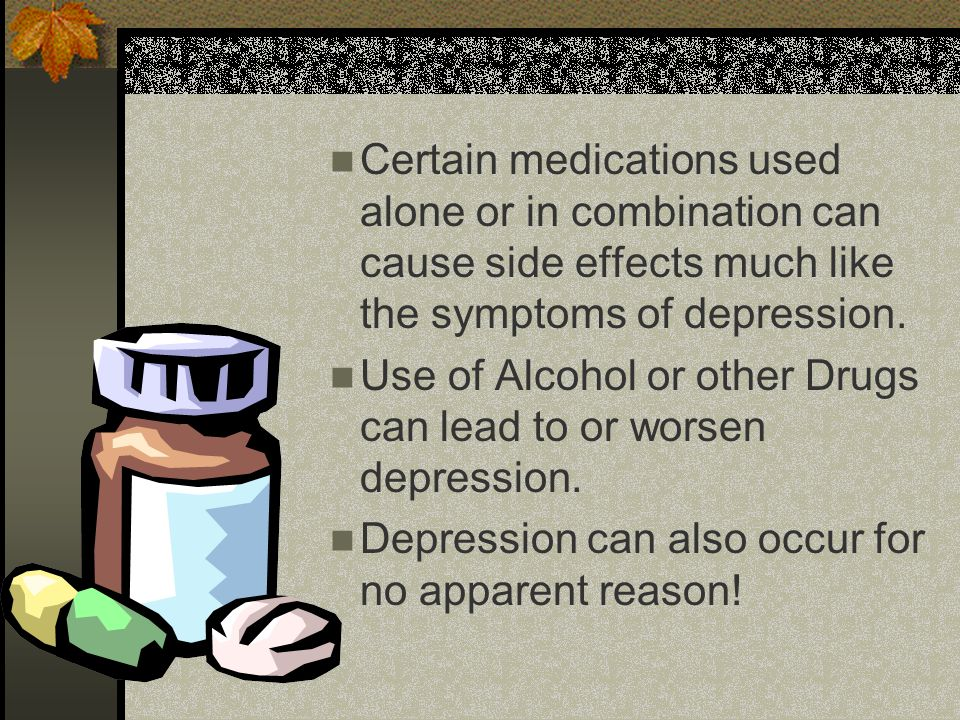 Treatment for Depression Medication Antidepressants can help ease the symptoms of depression and return a person to normal functioning.
