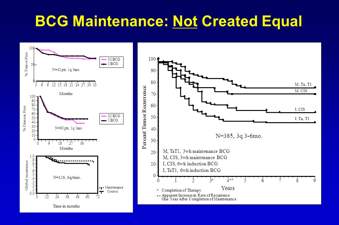 BCG Maintenance: Not Created Equal Years Completion of Therapy * Apparent Increase in Rate of Recurrence One Year After Completion of Maintenance ** P