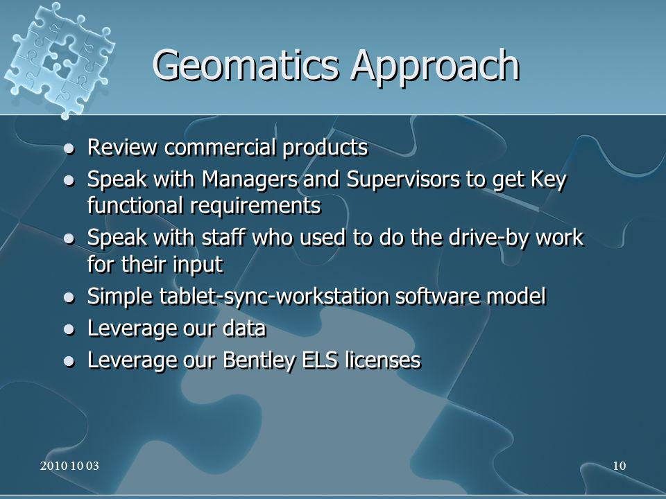 Geomatics Approach Review commercial products Speak with Managers and Supervisors to get Key functional requirements Speak with staff who used to do the drive-by work for their input Simple tablet-sync-workstation software model Leverage our data Leverage our Bentley ELS licenses Review commercial products Speak with Managers and Supervisors to get Key functional requirements Speak with staff who used to do the drive-by work for their input Simple tablet-sync-workstation software model Leverage our data Leverage our Bentley ELS licenses 2010 10 0310
