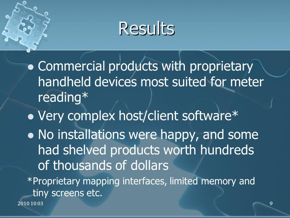 Results Commercial products with proprietary handheld devices most suited for meter reading* Very complex host/client software* No installations were happy, and some had shelved products worth hundreds of thousands of dollars *Proprietary mapping interfaces, limited memory and tiny screens etc.