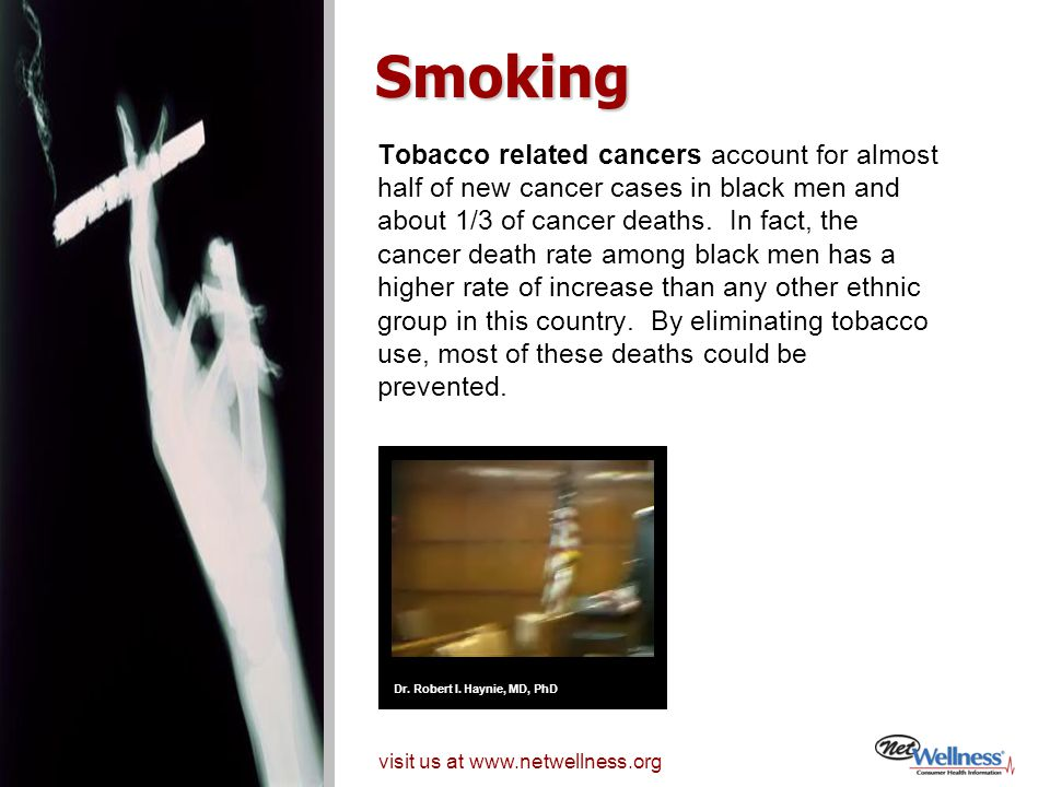 Tobacco related cancers account for almost half of new cancer cases in black men and about 1/3 of cancer deaths.