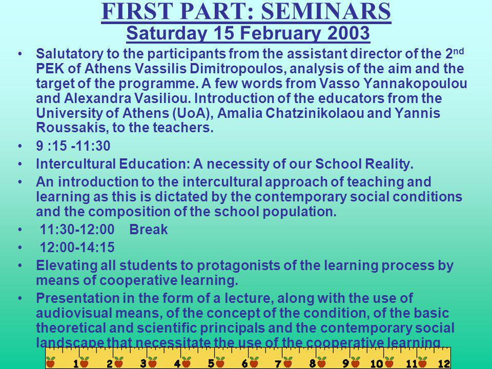 FIRST PART: SEMINARS Saturday 15 February 2003 Salutatory to the participants from the assistant director of the 2 nd PEK of Athens Vassilis Dimitropoulos, analysis of the aim and the target of the programme.