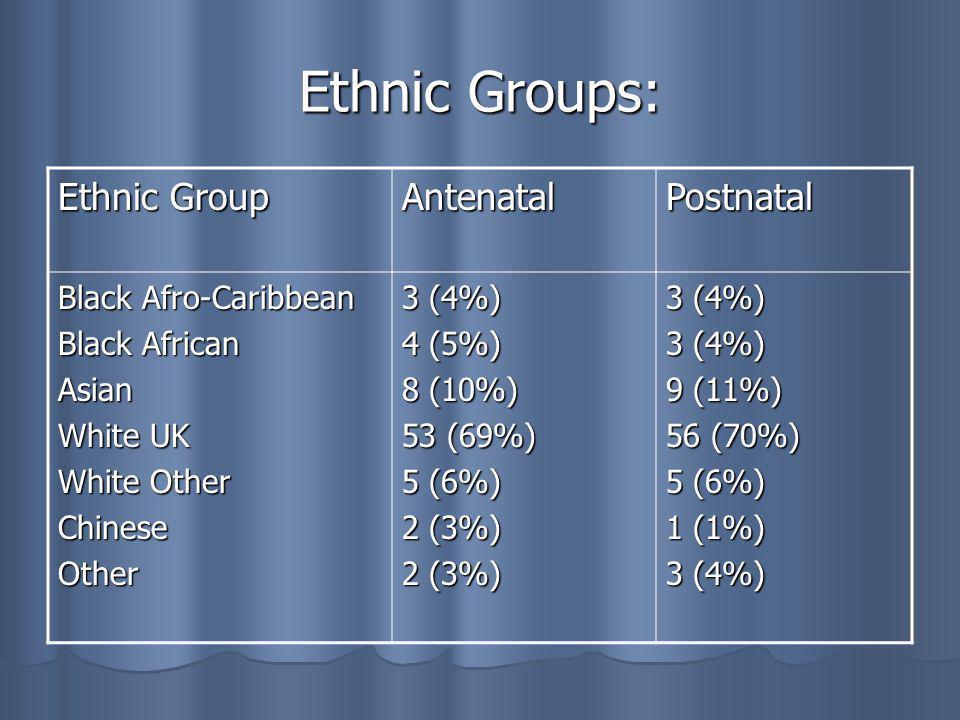 Evaluation of main programme Age Range Antenatal 77 women Postnatal 80 women 15-20 years 2 1 21-25 years 5 5 26-30 years 24 25 31-35 years 32 33 36-40