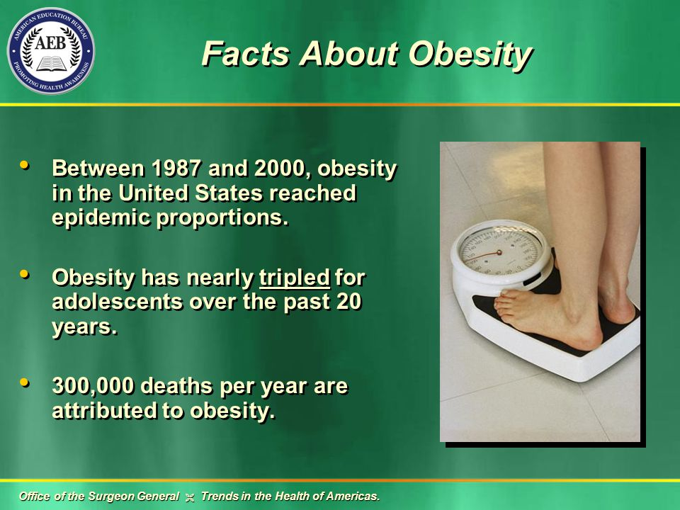 Facts About Obesity Between 1987 and 2000, obesity in the United States reached epidemic proportions.