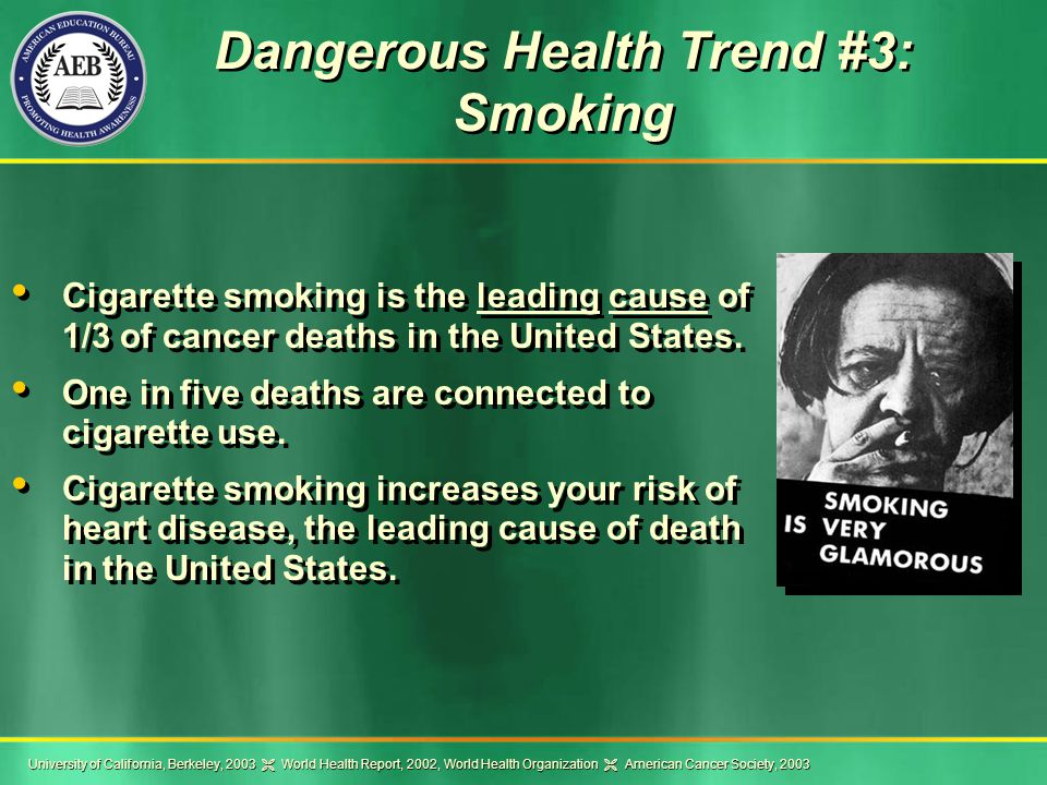 Dangerous Health Trend #3: Smoking Cigarette smoking is the leading cause of 1/3 of cancer deaths in the United States.
