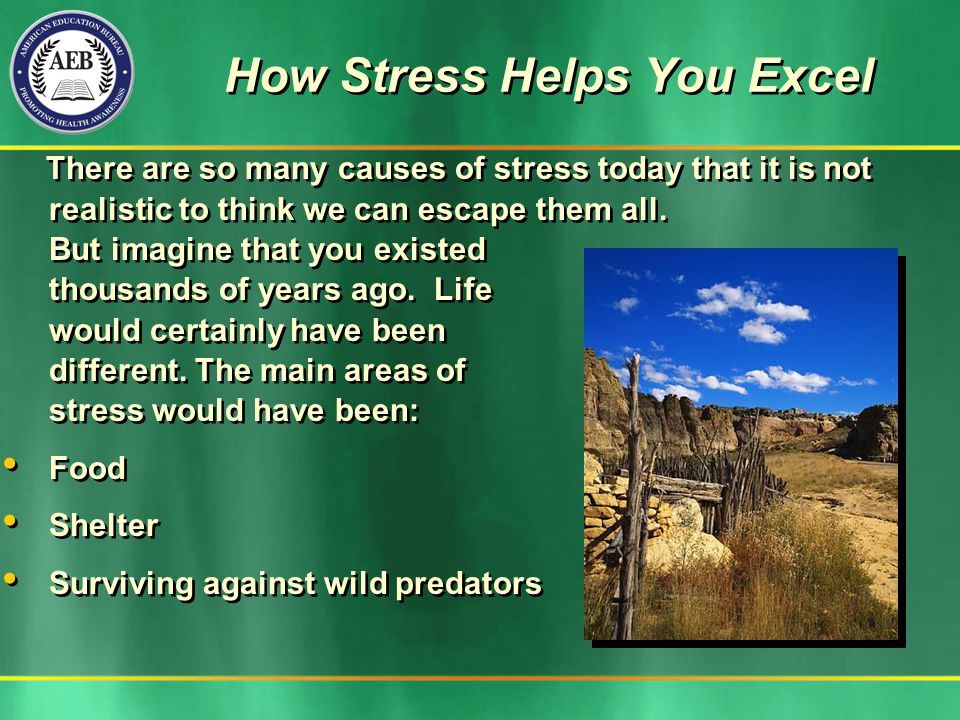 How Stress Helps You Excel There are so many causes of stress today that it is not realistic to think we can escape them all. But imagine that you exi