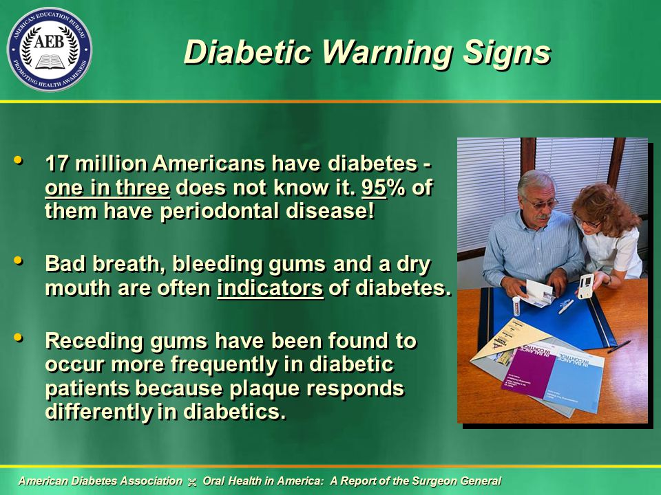 Diabetic Warning Signs 17 million Americans have diabetes - one in three does not know it.