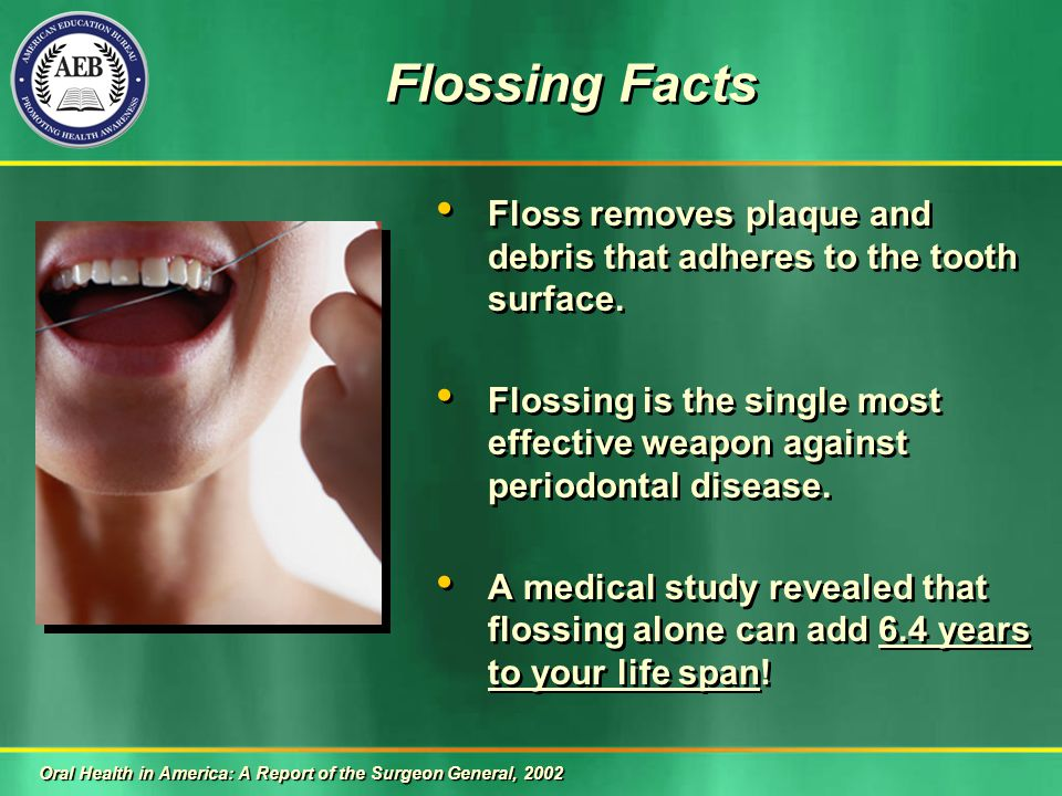 Flossing Facts Floss removes plaque and debris that adheres to the tooth surface.