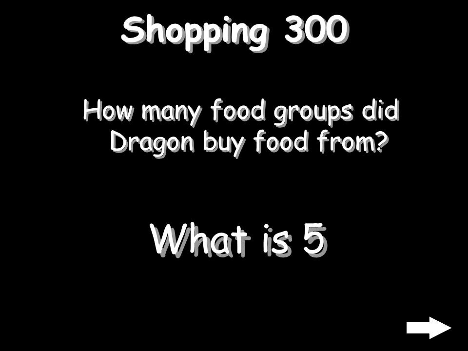 Shopping 300 How many food groups did Dragon buy food from? What is 5