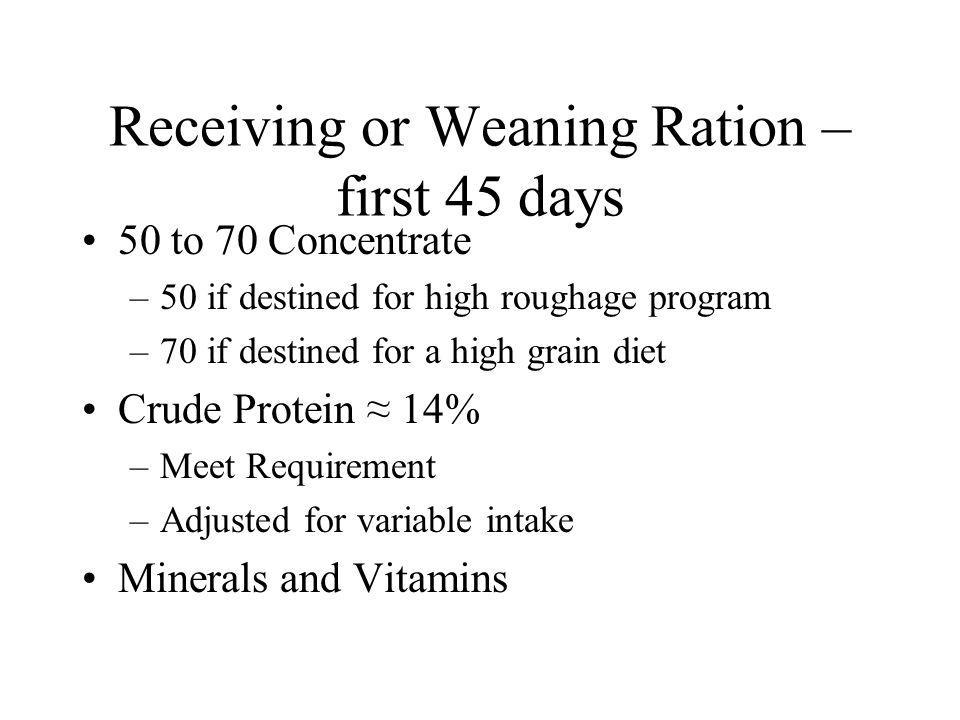 Receiving or Weaning Ration – first 45 days 50 to 70 Concentrate –50 if destined for high roughage program –70 if destined for a high grain diet Crude Protein 14% –Meet Requirement –Adjusted for variable intake Minerals and Vitamins