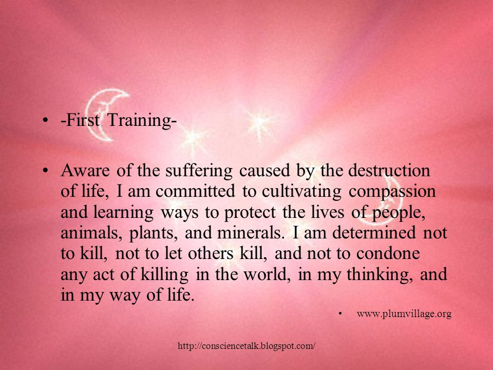 http://consciencetalk.blogspot.com/ -First Training- Aware of the suffering caused by the destruction of life, I am committed to cultivating compassion and learning ways to protect the lives of people, animals, plants, and minerals.