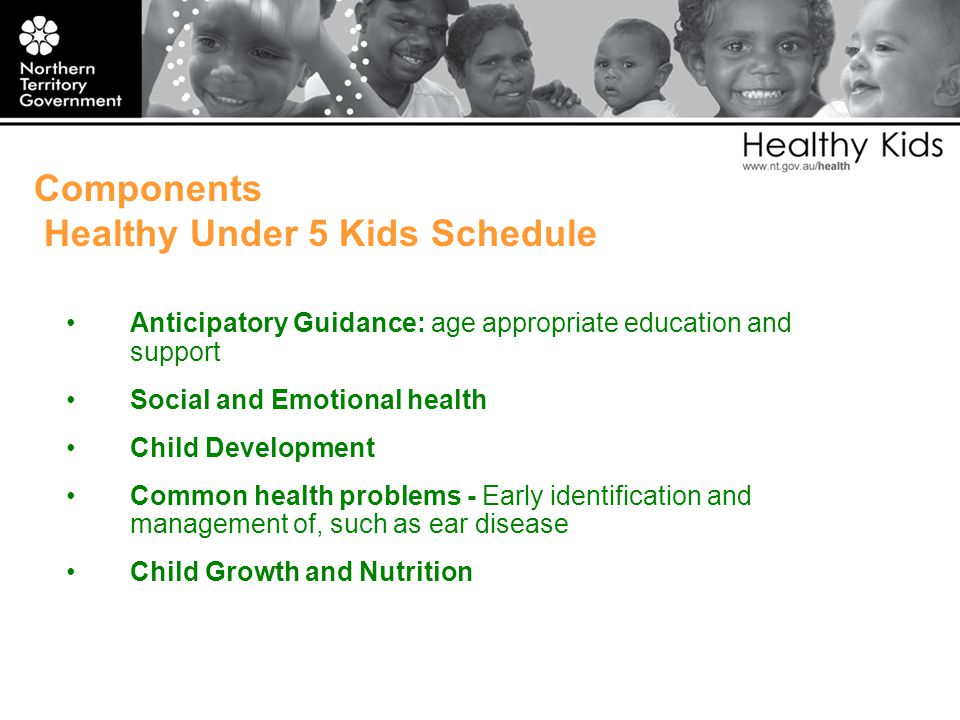 Components Healthy Under 5 Kids Schedule Anticipatory Guidance: age appropriate education and support Social and Emotional health Child Development Common health problems - Early identification and management of, such as ear disease Child Growth and Nutrition