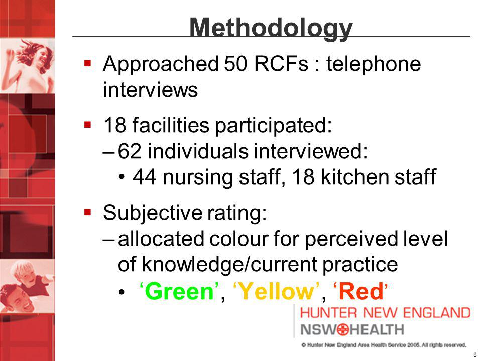 19 Conclusions Findings largely reflect available literature: thickened fluids consistently inconsistent Overall increased awareness - identified current weaknesses in provision of thickened fluids in Newcastle region Ongoing consultation and education within RCFs is required.