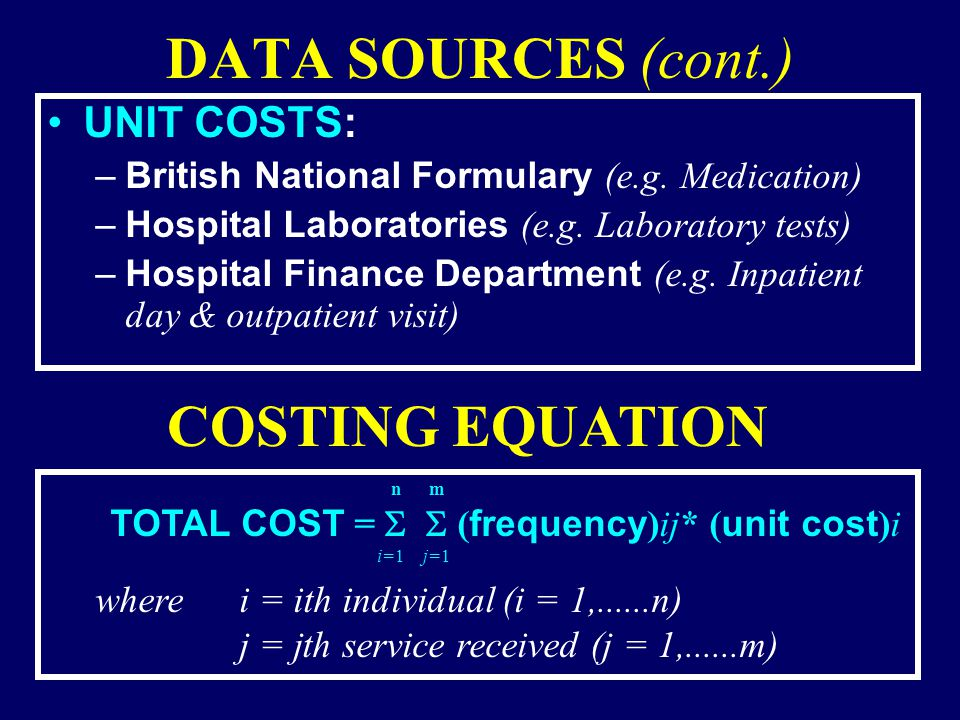 DATA SOURCES (cont.) UNIT COSTS: –British National Formulary (e.g.
