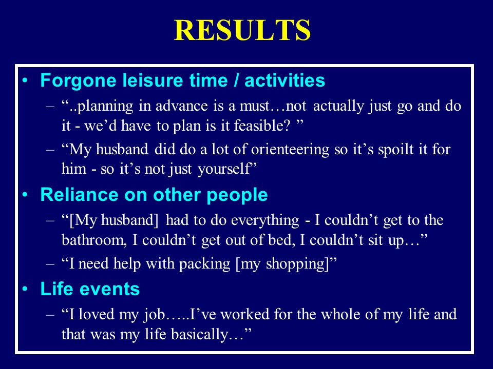 RESULTS Forgone leisure time / activities –..planning in advance is a must…not actually just go and do it - wed have to plan is it feasible.